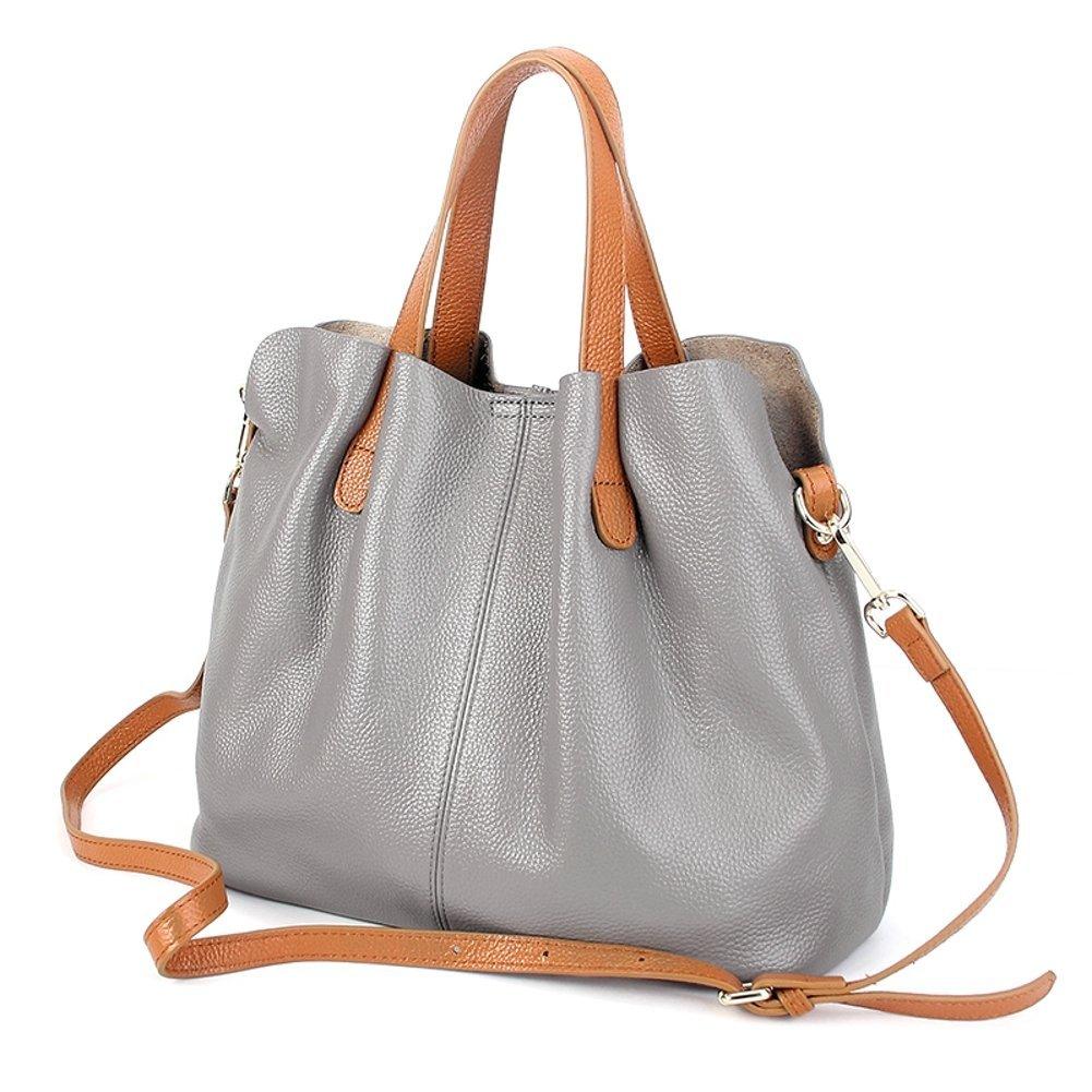 Molodo Womens Satchel Hobo Top Handle Tote Geuine Leather Handbag Shoulder Purse,Grey,Large