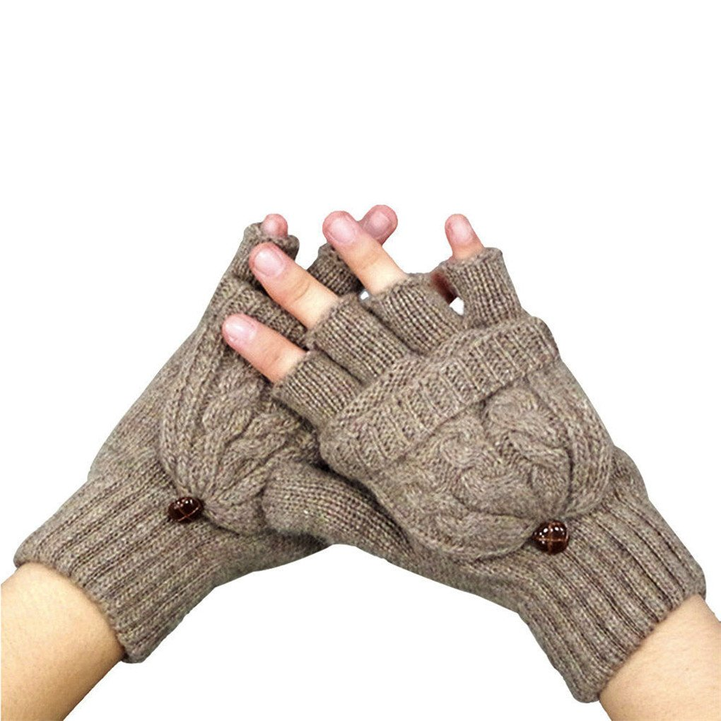 Clearance!Women Gloves,Haoricu Fashion Autumn WinterWomen Warmer Fingerless Gloves Winter (Khaki)