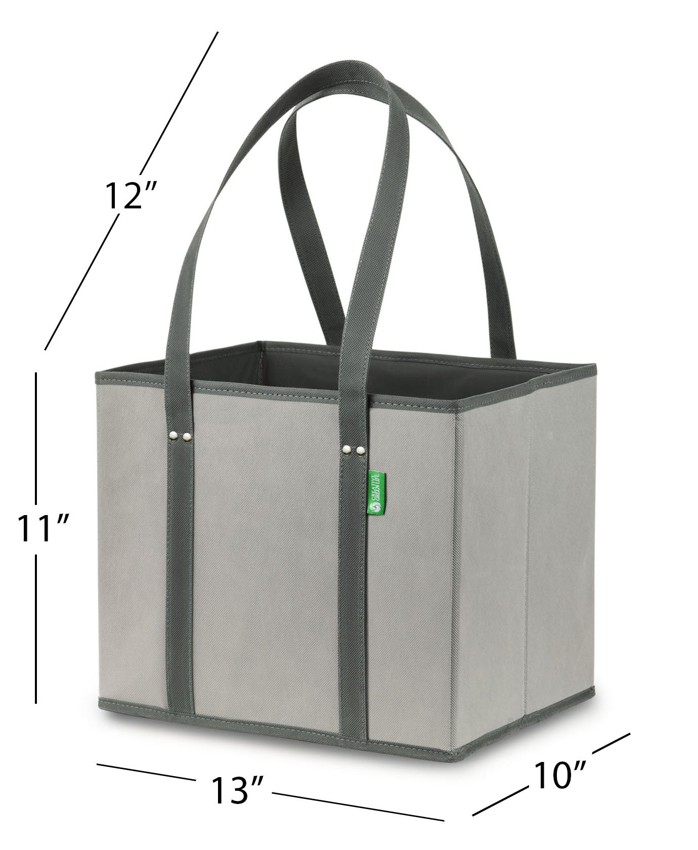 Reusable Grocery Shopping Box Bags (3 Pack - Gray). Large, Premium Quality Heavy Duty Tote Bag Set with Extra Long Handles & Reinforced Bottom. Foldable, Collapsible, Durable & Eco Friendly by Creative Green Life (Image #5)