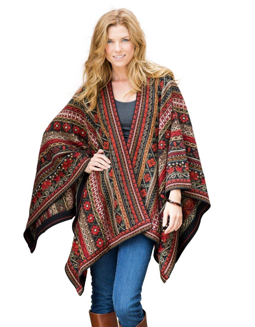 Invisible World Women's Poncho Alpaca Wool 100% Ruana Cape Winter Fall Julia