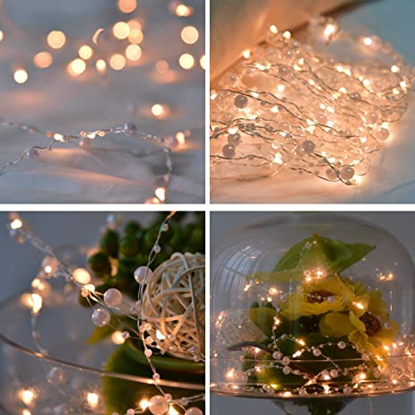 pearl string lights copper wire fairy light warm white with 58 leds 179 feet 8 modesl