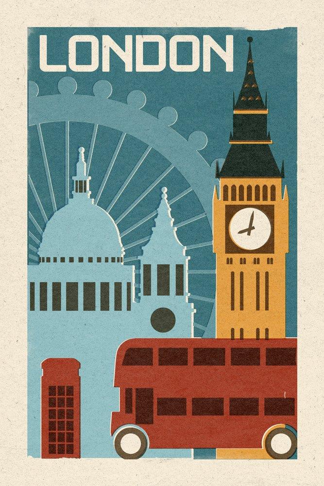 London - Woodblock (9x12 Art Print, Wall Decor Travel Poster)
