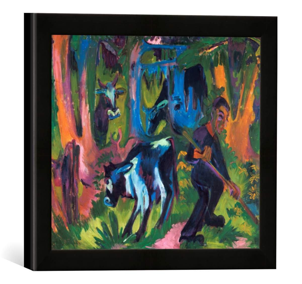 Gerahmtes Bild von Ernst Ludwig Kirchner Kühe im Wald, Kunstdruck im hochwertigen handgefertigten Bilder-Rahmen, 30x30 cm, Schwarz matt