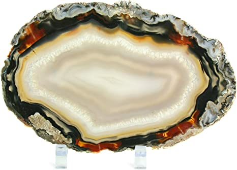 Double Sided from Brazil,Agate Stone,Agate Necklace,Home Decor,Office decor,Large Agate FREE Stand Amazing Large Polished Sliced Agate
