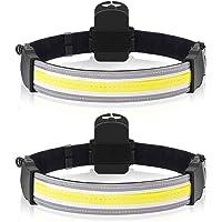 Headlamp Flashlight, 2 Pack 2000Lumens LED 220° Wide Beam Headlamp Lightweight COB Bright Headlight Battery Powered Head…