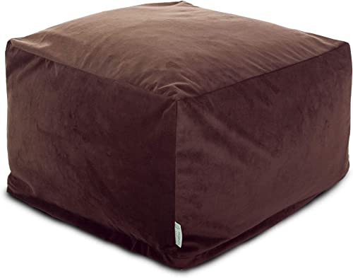 Majestic Home Goods Faux Suede Ottoman, Large, Dark Brown