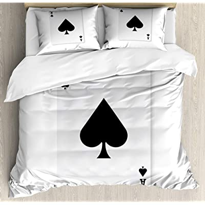 Ambesonne Ace of Spades Duvet Cover Set, Simplistic Composition with Casino Style Gambling Themed Print, Decorative 3 Piece Bedding Set with 2 Pillow Shams, Queen Size, Charcoal Grey: Home & Kitchen [5Bkhe1200215]