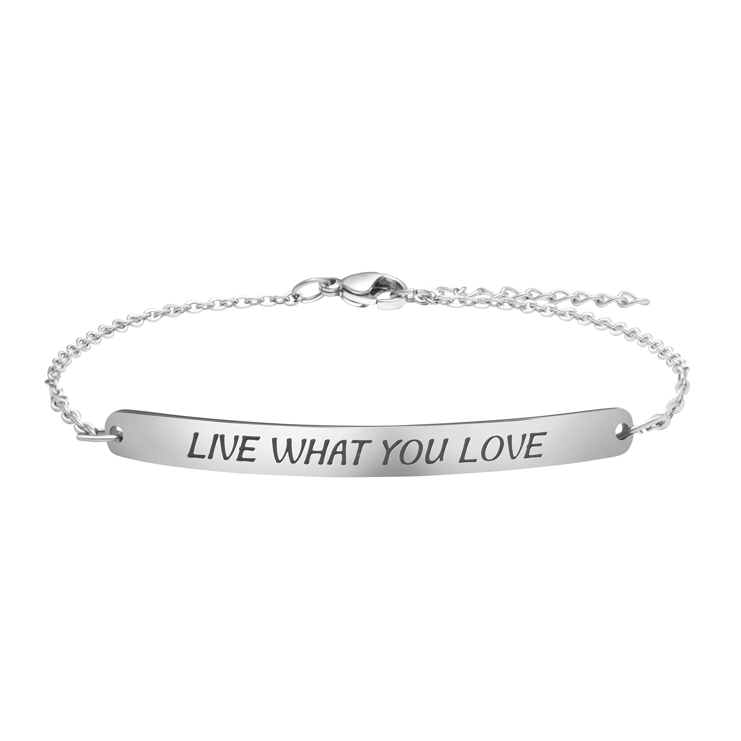 Joycuff Inspirational Mantra Bracelet Stainless Steel Silver Bar Chain for Women Live What You Love