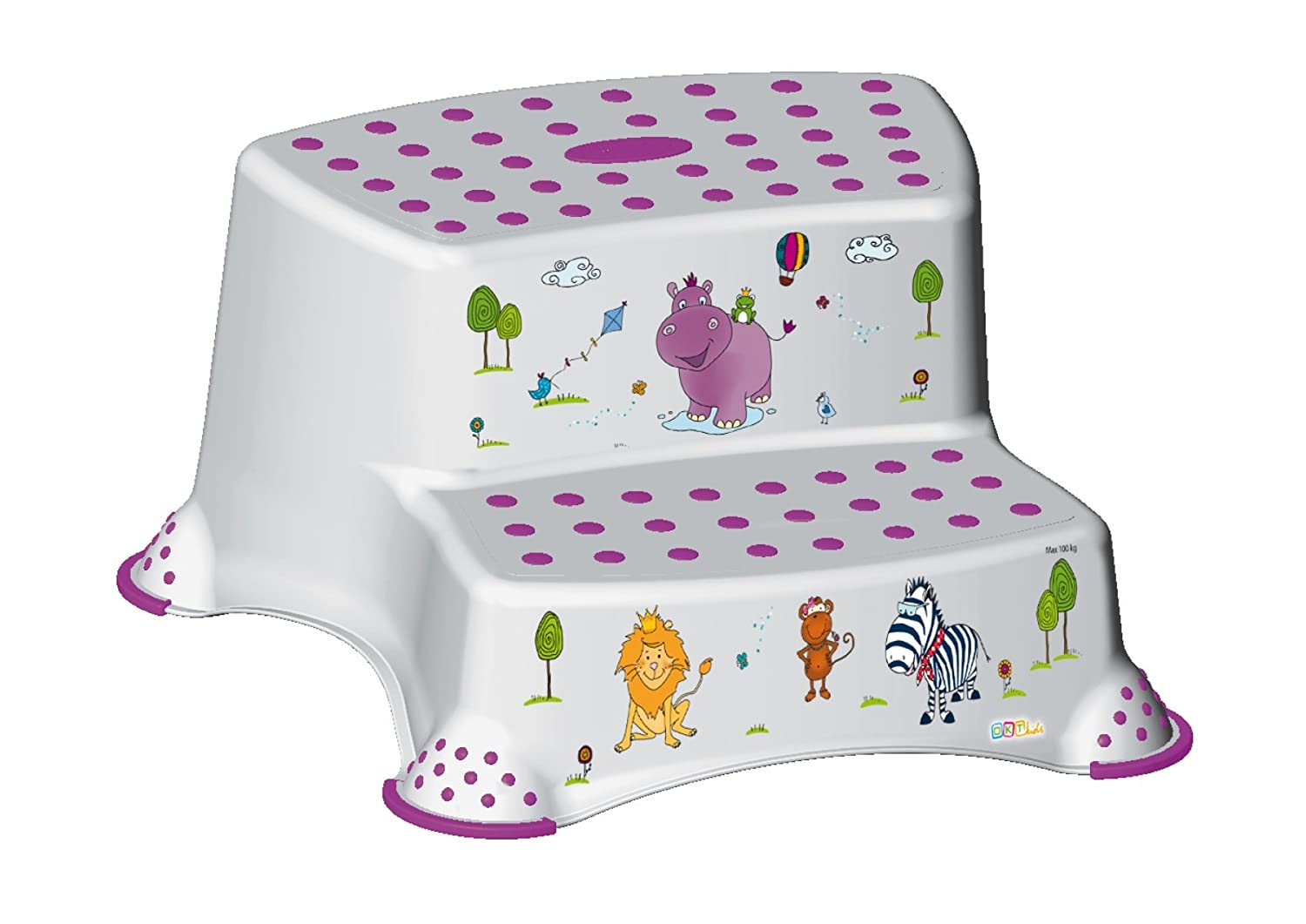 White Happy Friends Hippo Childrens Toilet Training 21cm Tall Double Step Stool
