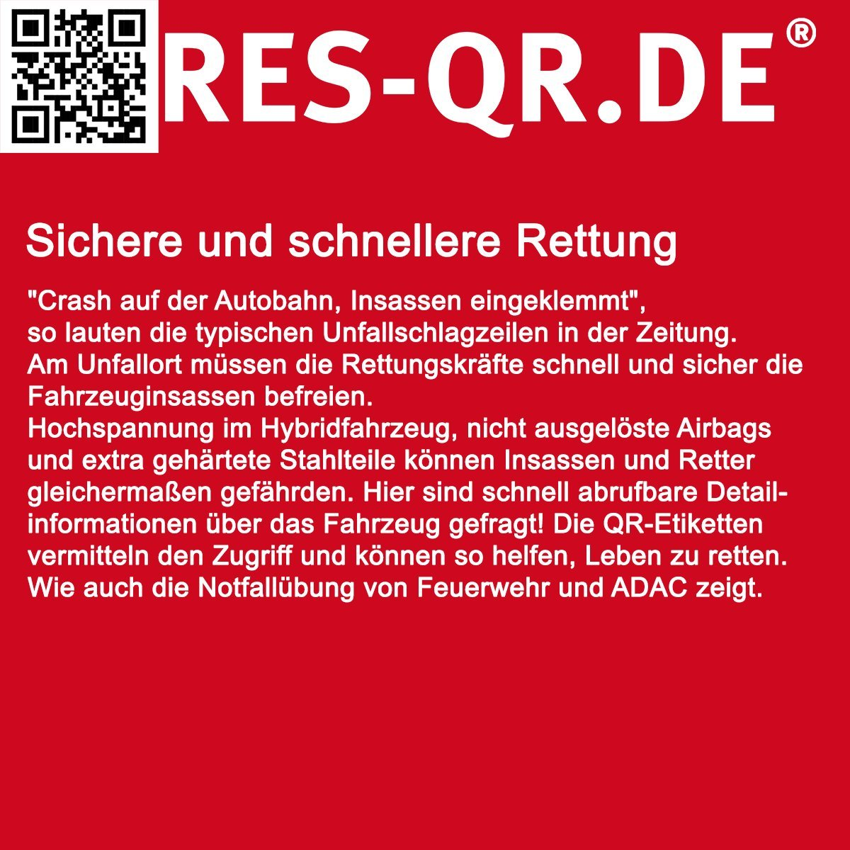 Opel Corsa D 5 T/ürer ab 2006 3 Etiketten plus Hinweisplakette QR-Etiketten-Nachr/üst-Satz f/ür Zugang zur digitalen Rettungskarte