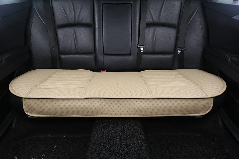 CONMING Cuscino di Sedile Auto Rivestimento di seggiolino PU in Pelle e bamb/ù Mat Pad Beige-Nouveau