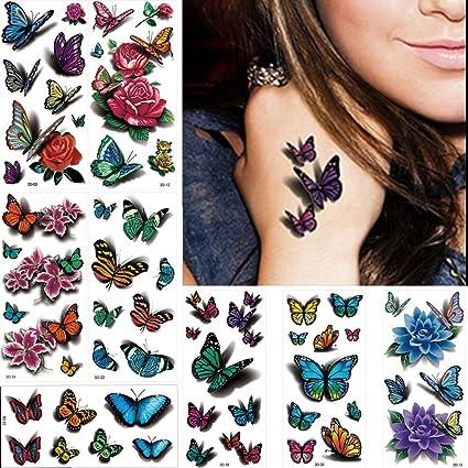 8 láminas de tatuajes temporales, pegatinas 3D con diseño de ...