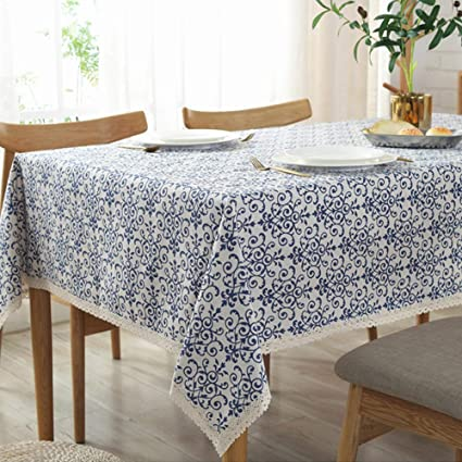 AMZALI Vintage Washable Cotton Linen Fabric Navy Damask Pattern Decorative Macrame Lace Square Tablecloth Dinner Picnic Table Cloth Home Decorative Table Cover Assorted Size (55 Inch x 55 Inch) best rectangular tablecloths
