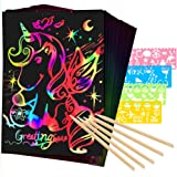 Mocoosy 60Pcs Scratch Art Paper for Kids - Rainbow Magic Scratch Off Paper Art and Craft Kit Scratch Paper Black Drawing Pape