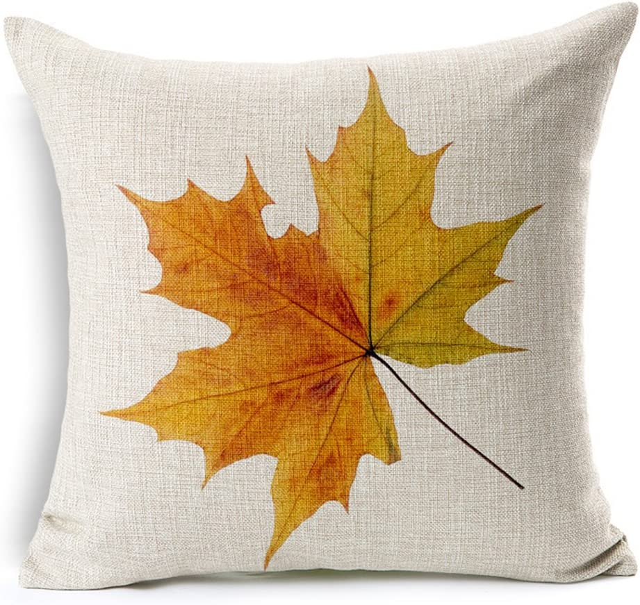Fall Yellow Maple Leaf Cotton Linen Decorative Throw Pillow Case Cushion Cover 17 7 X 17 7 Amazon Ca Home Kitchen