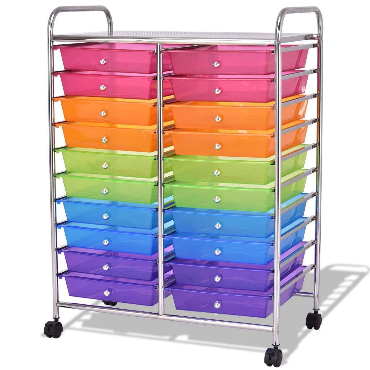 LordBee New Colorful 20 Drawers Studio Storage Rolling Cart Red, Orange, Green, Blue and Violet Organizer Home Office Dining Room Decorative