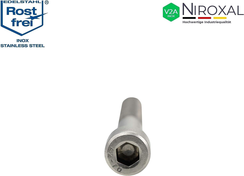 Edelstahl Zylinder-Schraube rostfrei V2A M4-mm stark 20-mm Schrauben-L/änge 500 St/ück 20-mm Teil-Gewinde Innensechskant M4x20