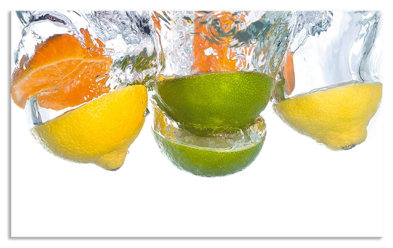 Artland Design Spritzschutz Küche I Alu Küchenrückwand Herd Obst Foto Bunt F1SY Zitrusfrüchte Fallen in klares Wasser