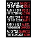 Watch Your Thoughts Motivational Classroom Poster Modern Canvas Prints Wall Art Paintings for Office Living Room Home Decorations,13x19 Inch