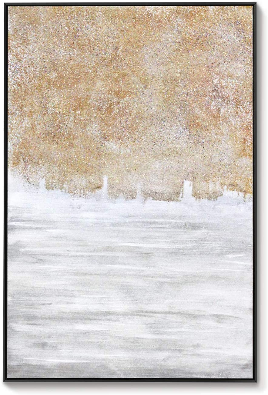 Lamplig Large Abstract Canvas Wall Art 100 Hand Painted Oil Paintings Gold Wall Decor Beige Gray Sand Texture Prints Framed Contemporary Artwork Picture