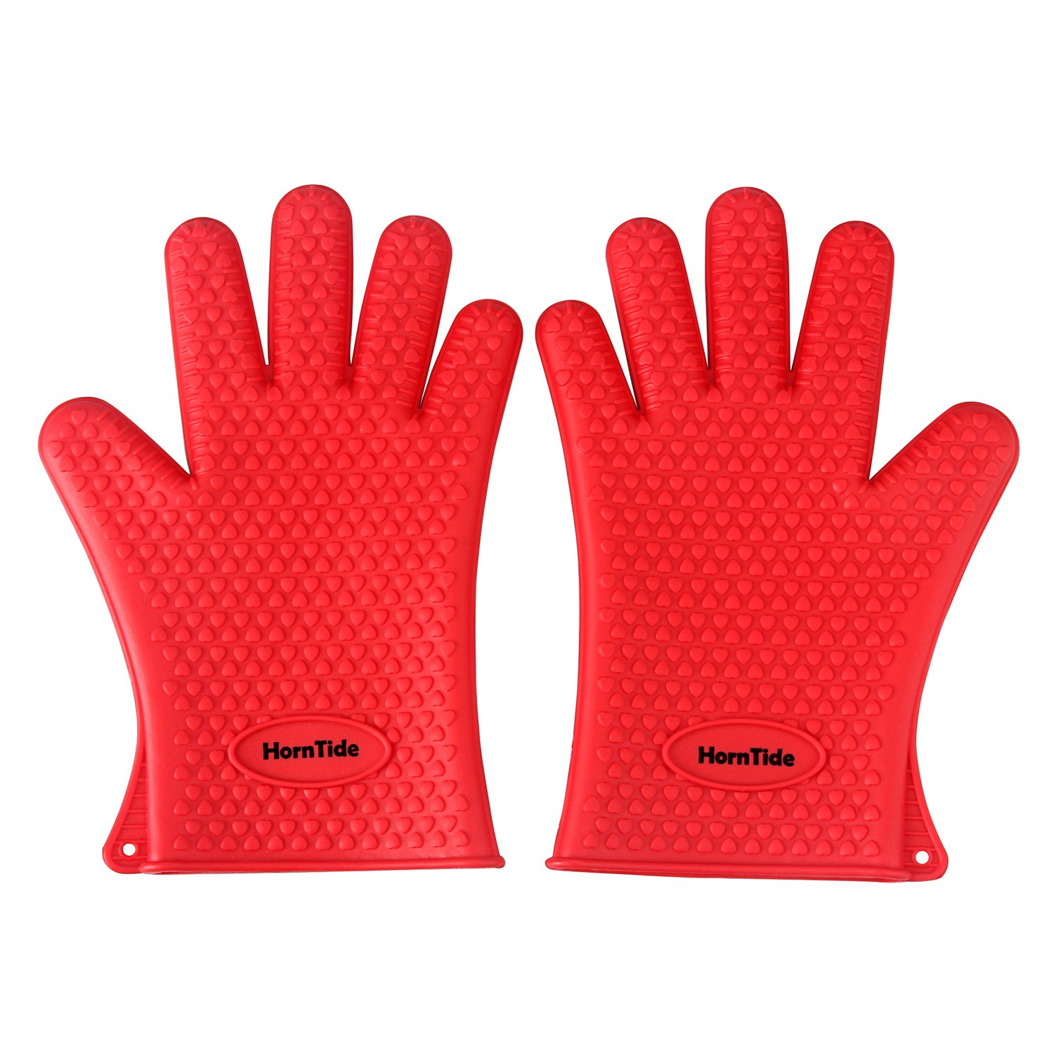HornTide Heat Resistant Gloves Silicone Oven Mitts Withstand 230°C 446°F Five-Fingered Grip for Baking Cooking Grilling One Size Fits Most (Red)