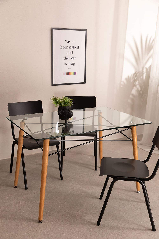 120x80 cm SKLUM Tavolo Rettangolare da Sala Pranzo in Vetro e Faggio Scand Nero//Legno Naturale - Scegli Un Colore