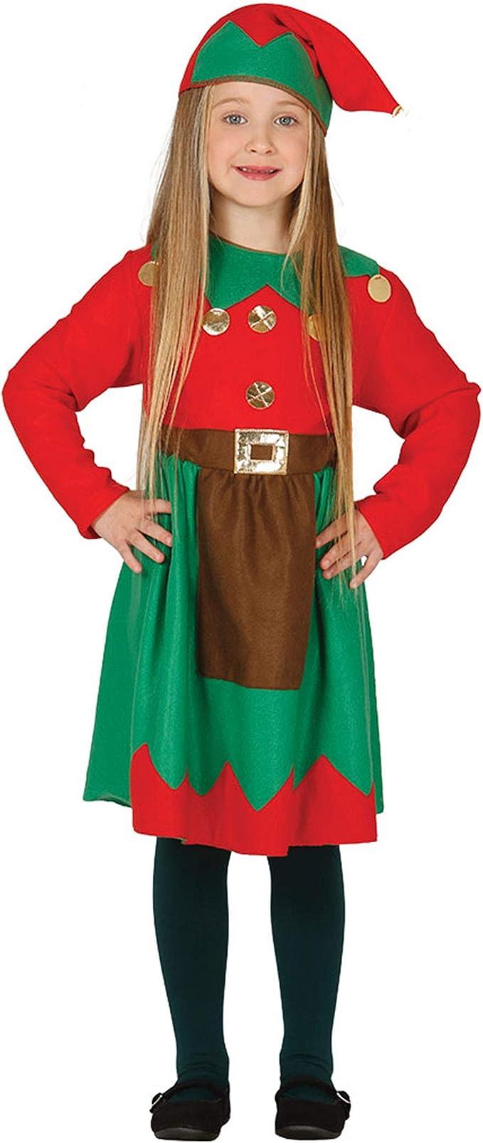 Disfraz de Elfa verde y rojo para niña: Amazon.es: Juguetes y juegos