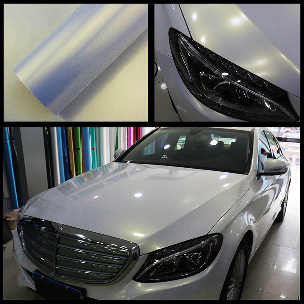 ATMOMO Bright White to Gold Color Change Vinyl Film Wrap Sticker Sheet Chameleon Film 1.52Mx60CM