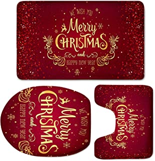 Bath Toilet Rugs 3 Pieces Set for Bathroom, African American Girls Theme Toilet Seat Cover Bath Mat Lid Cover, Non-Slip Absorbent