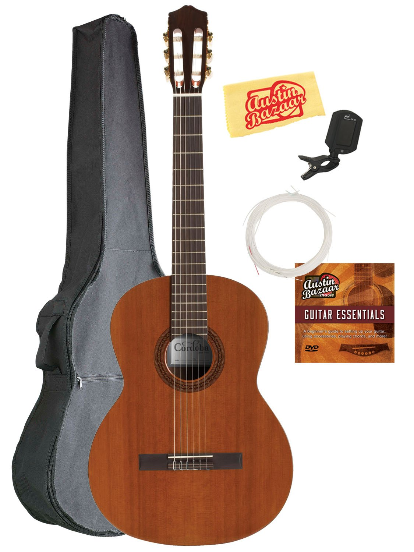 Cordoba C5 Classical Guitar Bundle with Gig Bag, Tuner, Austin Bazaar Instructional DVD, and Polishing Cloth