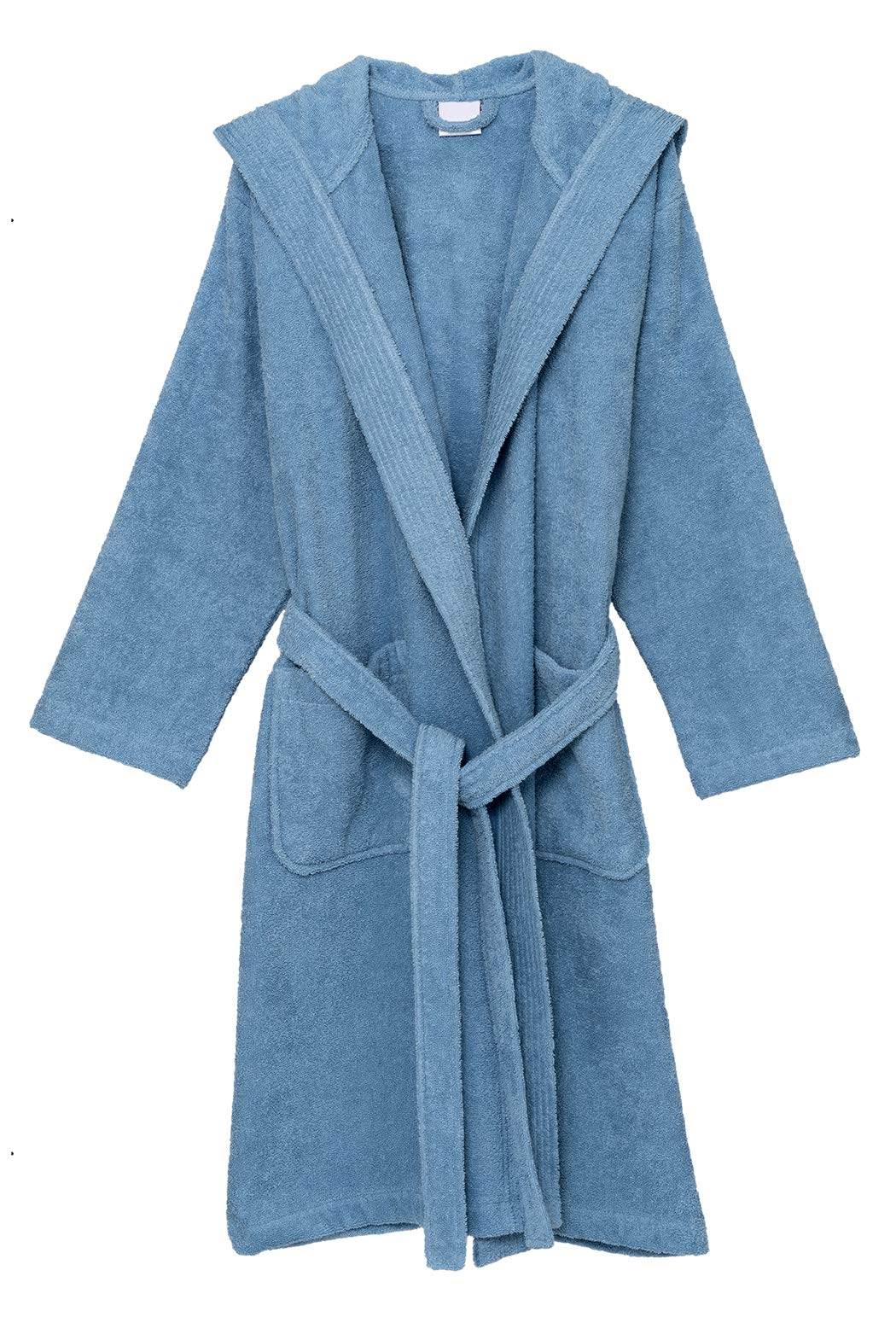 TowelSelections Men's Hooded Robe, Cotton Terry Cloth Bathrobe Large Blue