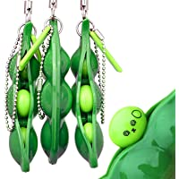 Bring Fun for Kids and Adluts with Reduce Anxiety and Stress, Fidget Toys Squeeze-a-Bean Keychain Pendants Phone Chain Peas(3pc)
