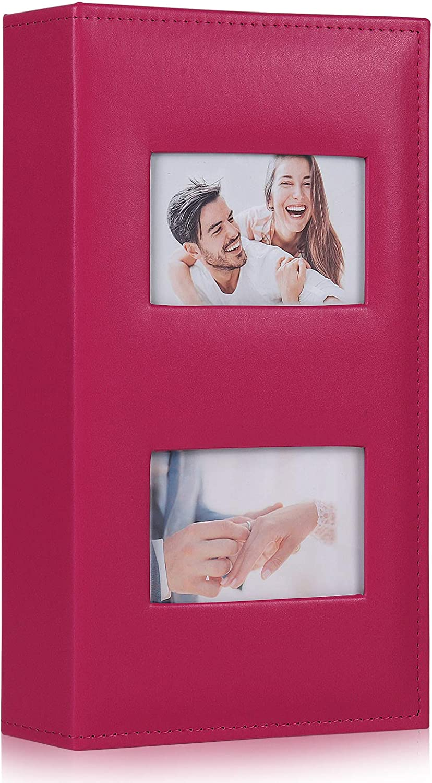 RECUTMS Photo Album 300 Pockets 4x6 Picture Album Pu Leather Cover Photo Album Holds 300 Pockets Picture Family Photo Albums Wedding Picture Album Baby Photo Picture Album (Pink)