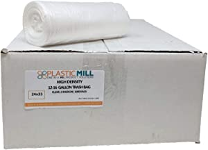 PlasticMill 12-16 Gallon Garbage Bags, High Density: Clear, 8 Micron, 24x33, 1000 Bags.