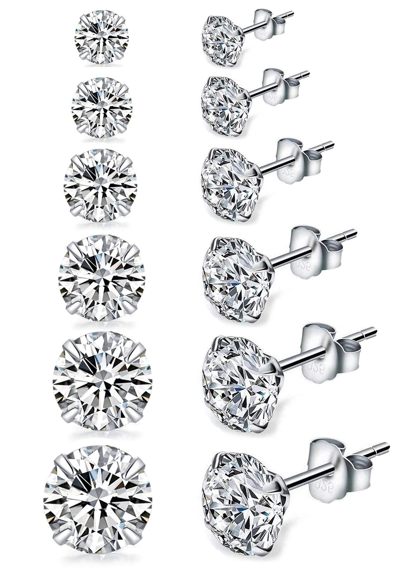 Sterling Silver CZ Studs Earrings, 6 Pairs, 14k Gold Post 4 Prong Pure Brilliance Diamond Stud Earrings for Women Mens Gilrs Children Sensitive Ears priercing (3/4/5/6/7/8mm Pack of 6) by Jinwelry