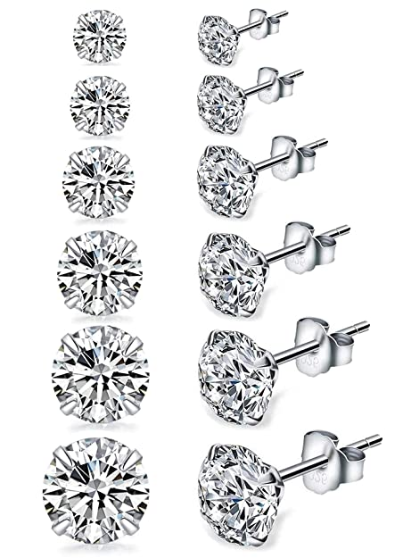 4a1f90b06 Sterling Silver CZ Studs Earrings, 6 Pairs, 14k Gold Post 4 Prong Pure  Brilliance