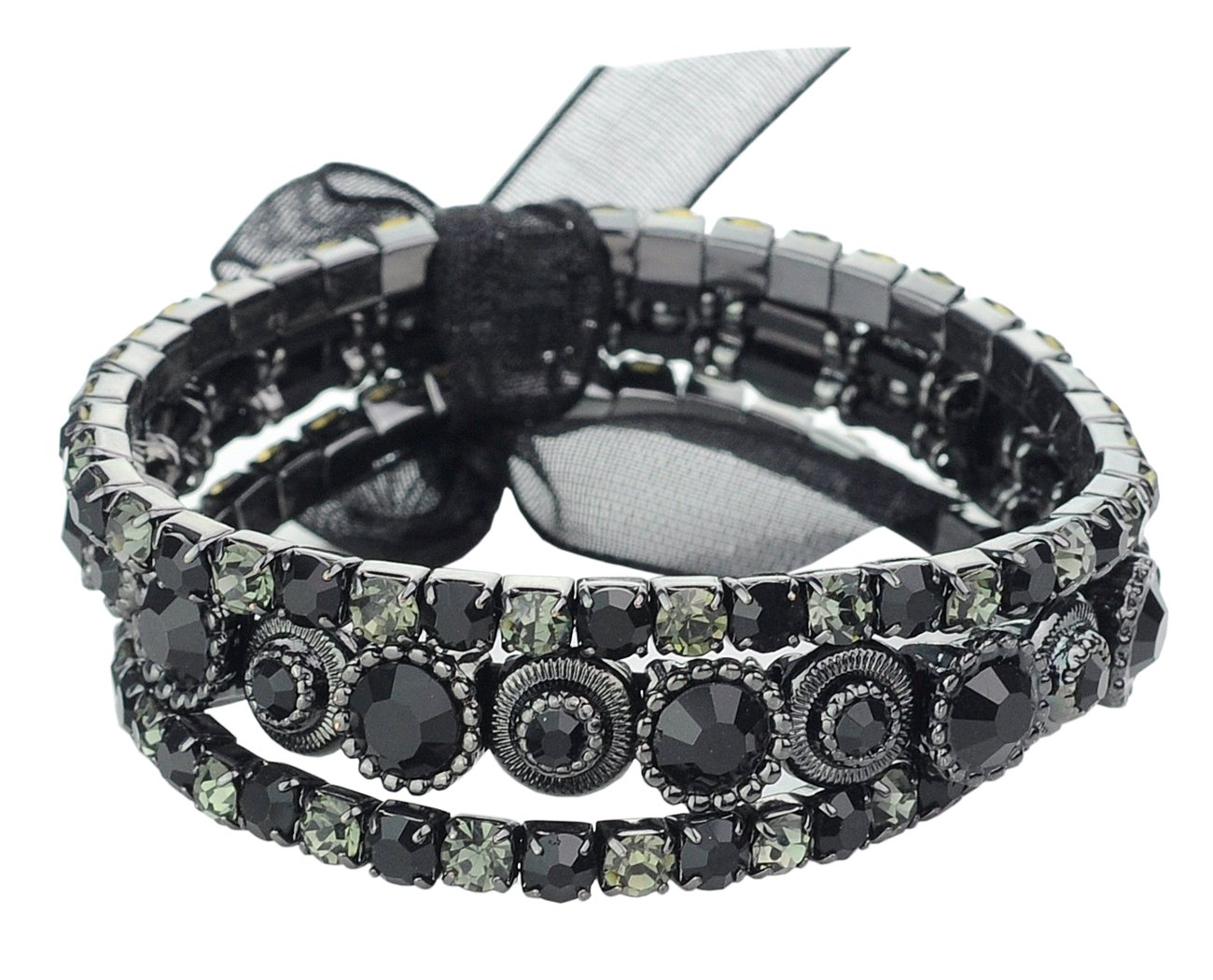 Women's Stone Stud 3 Piece Stackable Stretch Bracelet, Black