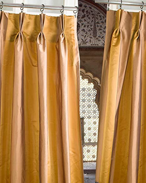 Hand Made Striped Faux Silk Pinch Pleated Black Out Thermal Insulated Lined 27 Wide Living Room Window Curtain Drape Panel Gold Copper Stripes 27 W X 96 L Home Kitchen