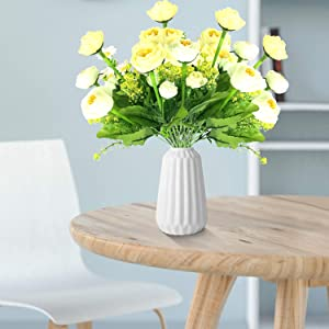 Artificial Peony Flowers, 4 Bundles Faux Peony Silk Bouquet Home Wedding Decor, Fake Flower for Home Office Party Hotel Window Table Wedding Decoration, Floral Arrangements, Without Vase (White)