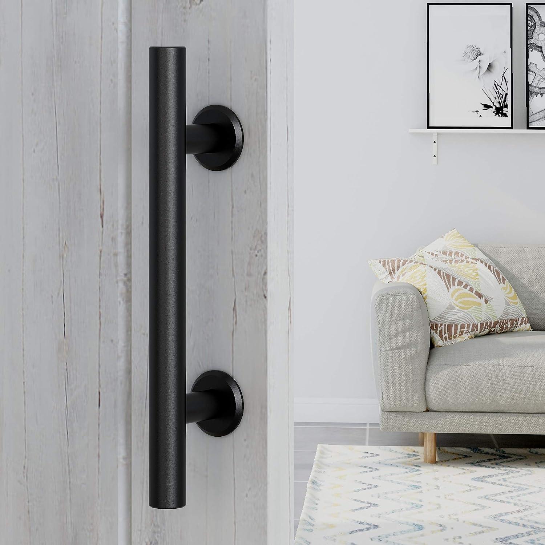FaithLand 12 Sliding Barn Door Handle with Latch Lock Heavy Duty Flush and Pull Door Handle Set /& Hook Latch Fit Doors Up to 2 3//8 Black