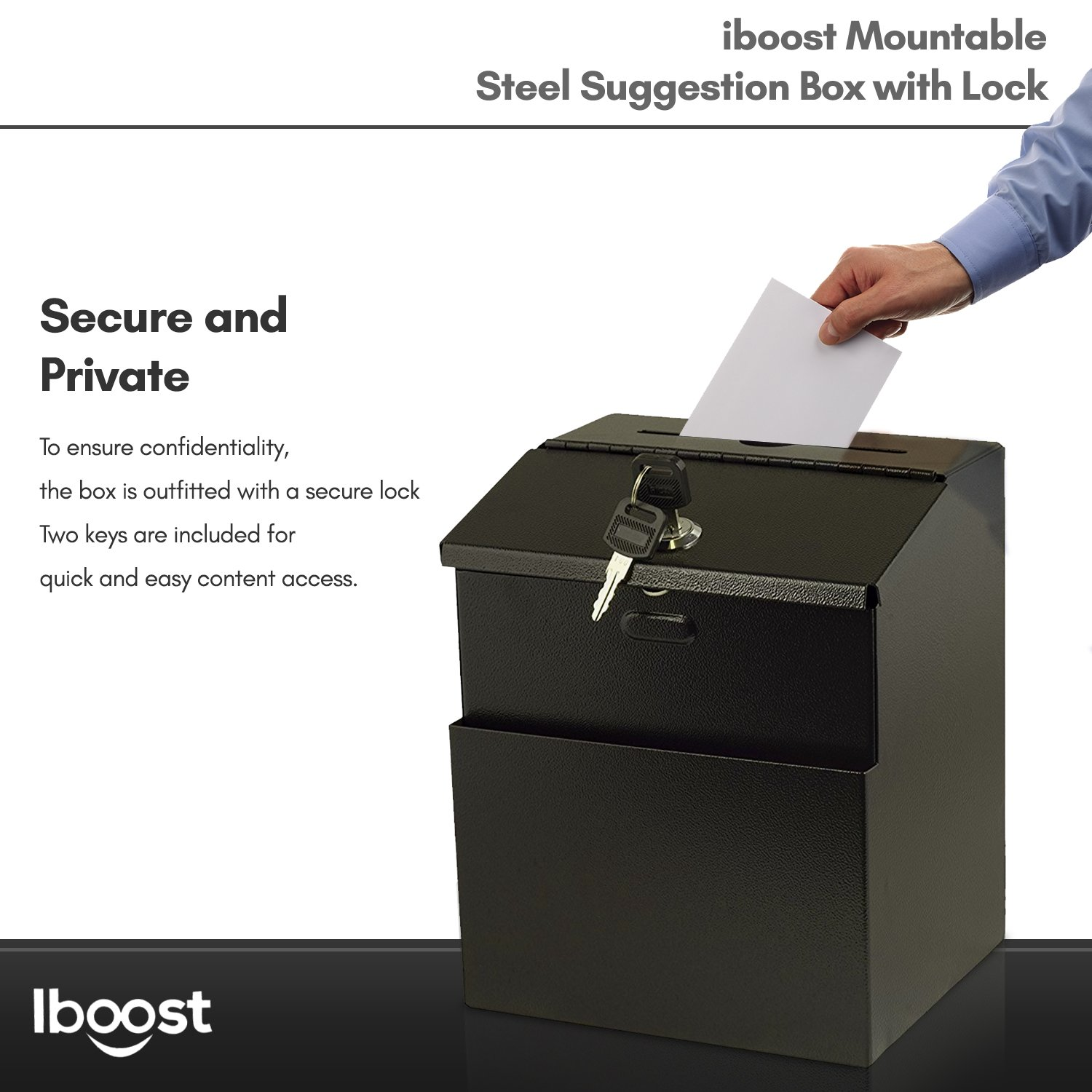 iBoost Suggestion Box with Mounting Hardware (Lock, 2 Keys)