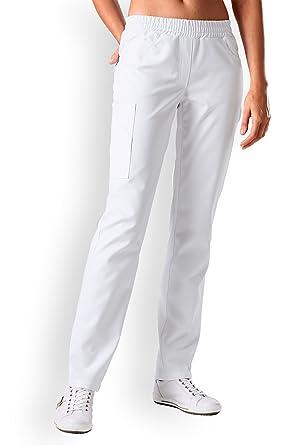 CLINIC DRESS Schlupfhose für Damen Weiß Stretch weiß  Amazon.de ... 2f32572db7