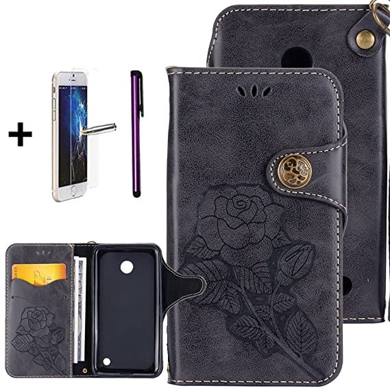 new style 27c90 dd473 Lumia 635 Case, Lumia 630 Leather Case,ISADENSER 3D Embossing Floral Retro  PU Leather Flip Wallet Stand Card Slot Protective Case Cover for Nokia ...