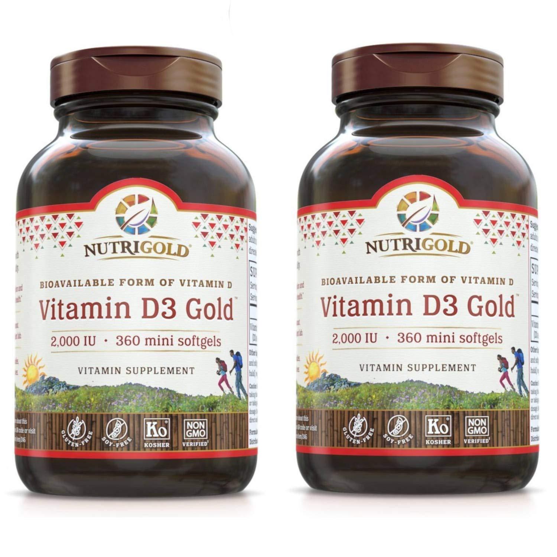 Nutrigold Vitamin D3 Gold (in Organic Olive Oil), 2000 IU, 360 softgels (Pack of 2)
