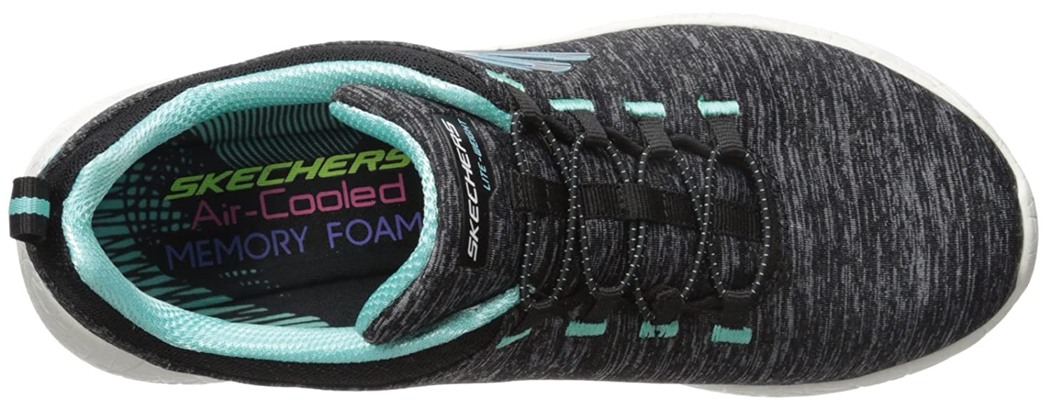 df4eb9763d0b64 Skechers Burst Equinox Womens Sneakers Black Turquoise 10 W  Amazon.co.uk   Shoes   Bags
