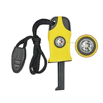 Grenhaven - Iniciador de fuego compacto 3 en 1 - Brújula, Señal SOS y silbato