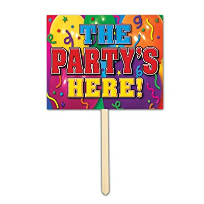 The Party's Here Yard Sign Party Accessory (1 count): Kitchen & Dining