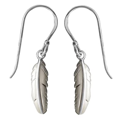 fc89b317b Image Unavailable. Image not available for. Color: Boma Jewelry Sterling  Silver Matte Feather Earrings