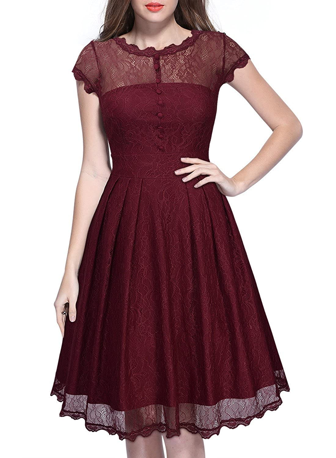 TowerTree Women's Floral Lace Cap Sleeve Vintage Swing Bridesmaid A Line Dress