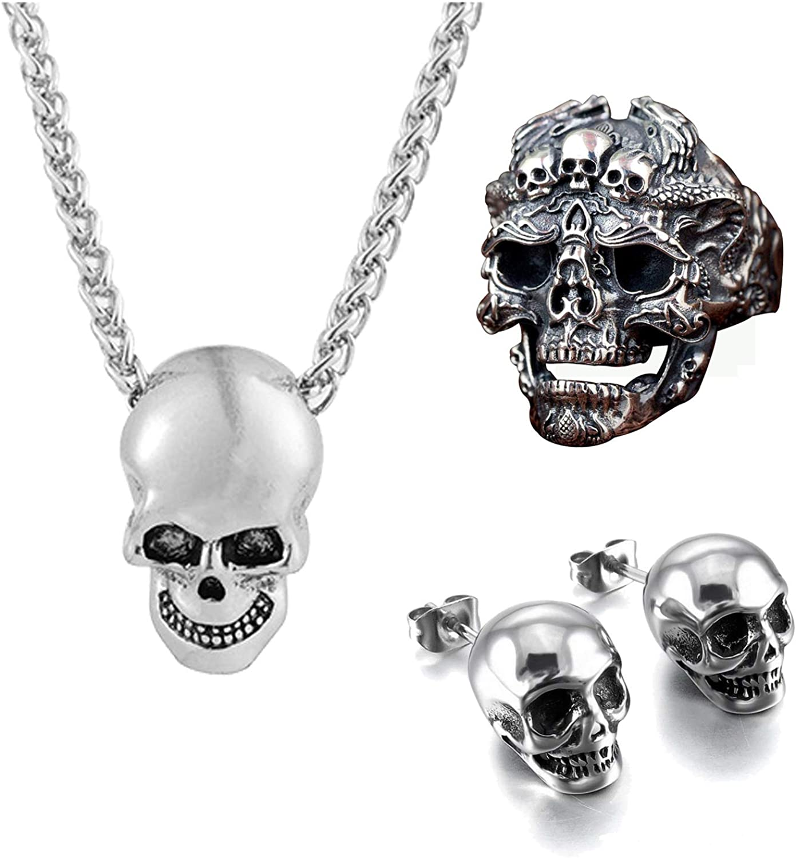 YANCHUN 2 Pcs Gothic Skull...